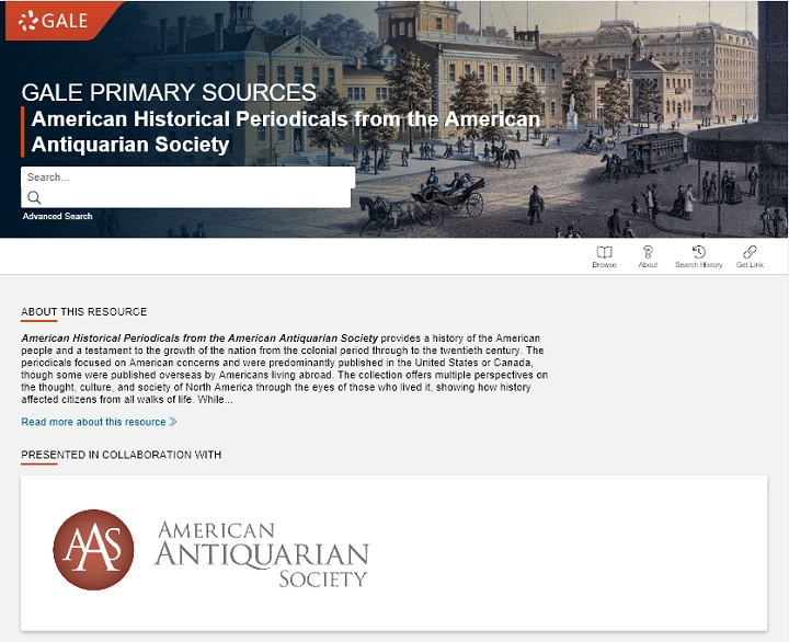 American Historical Periodicalsトップ画面