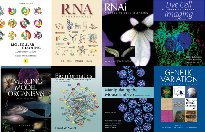 CSHL Laboratory Manuals Protocols - Molecular Cloning, RNA, RNAi, Live Cell Imagning, Emerging Model Organisms, Bioinformatics, Manipulating the Mouse Embryo, Genetic Variation