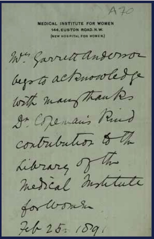 Autograph Letter from Elizabeth Garrett Anderson