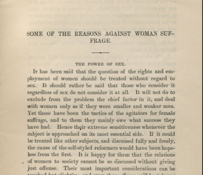 女性参政権に反対する若干の理由