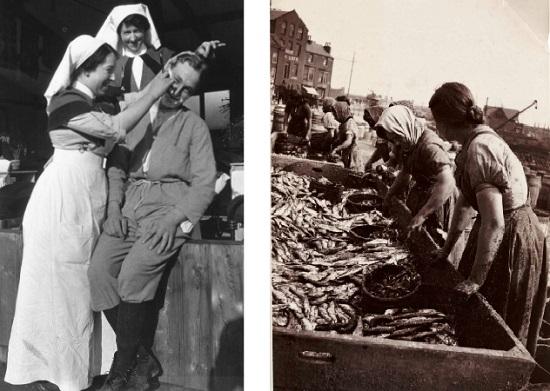 魚を選り分ける女性たち