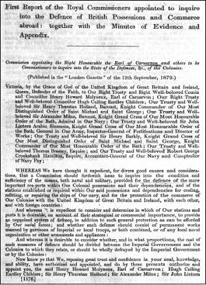 王立イギリス海外領土・通商防衛委員会第一次報告