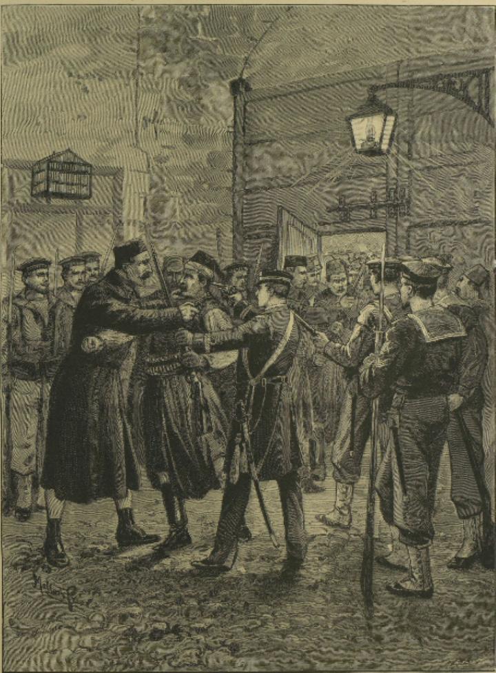 カネアの城門で武器を取り上げられるオスマン・トルコの傭兵、バシ・バズーク