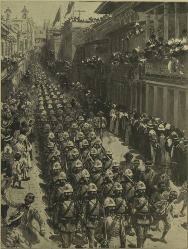 プエルトリコのサンフアンを行進するスペイン軍兵士