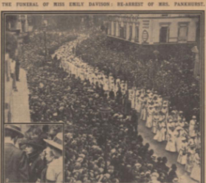 1914 サフラジェットのエミリー・デイヴィソン死去2