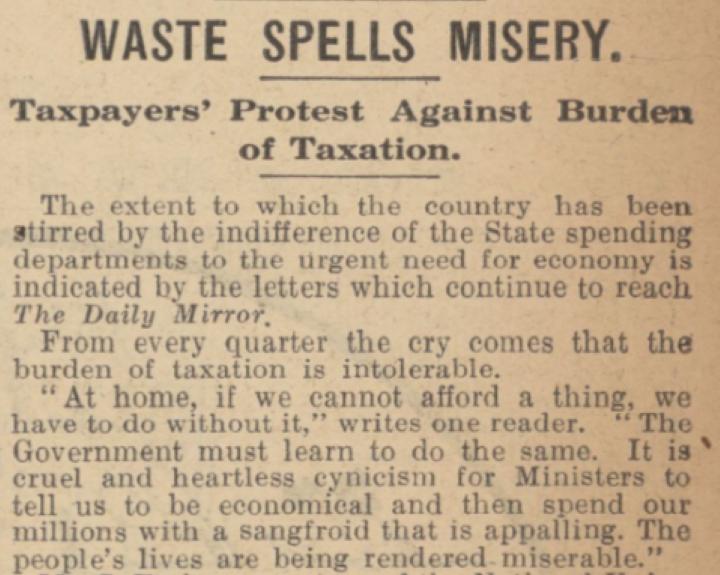 1921 反浪費同盟創設