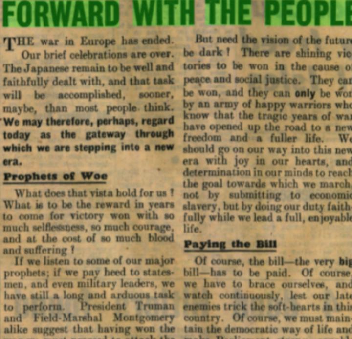 1945 総選挙で労働党勝利