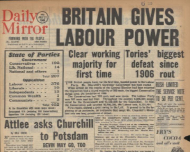 1945 総選挙で労働党勝利2