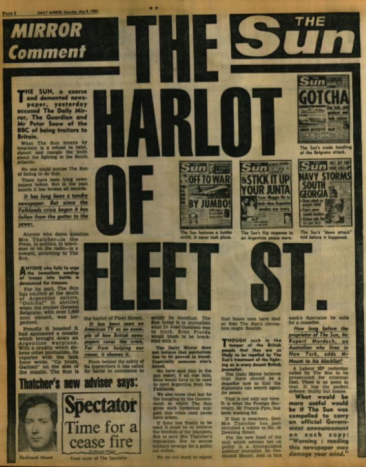 1975 性差別禁止・同一賃金法制定 マージョリー・プループスのコラム。性差別禁止・同一賃金法制定をすべての女性にとっての偉大な日として祝福した。(December 29, 1975) 1982 フォークランド紛争