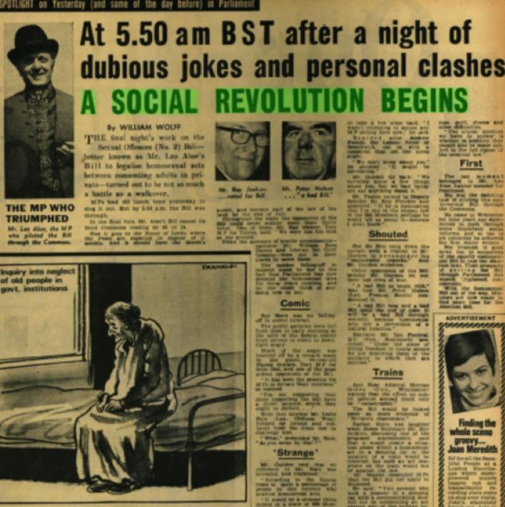 1967 イングランドとウェールズで同性愛合法化