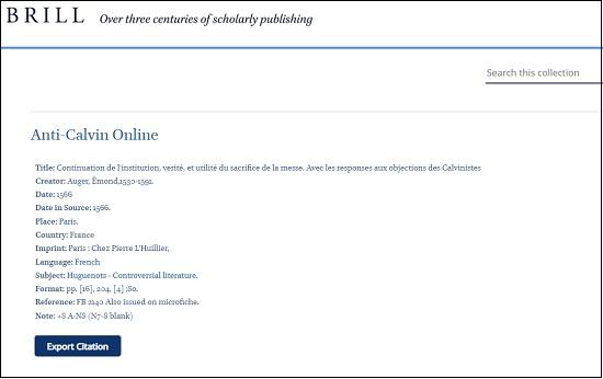 Anti-Calvin Online_書誌事項