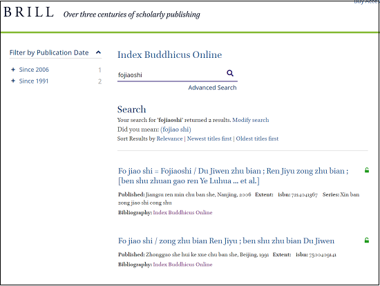Index Buddhicus Search Result 1